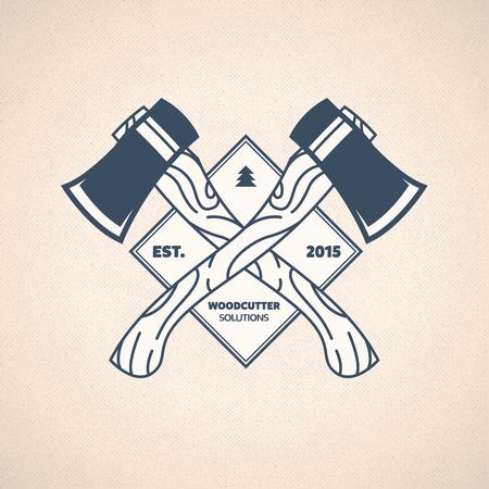 woodcutter: Vintage Lumberjack Label. Vector Woodcutter Emblem