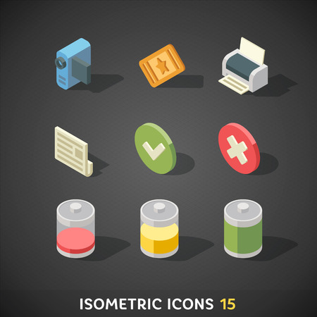 confirm: Flat Isometric Icons Set 15