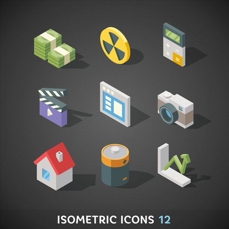 3d button: Flat Isometric Icons Set 12