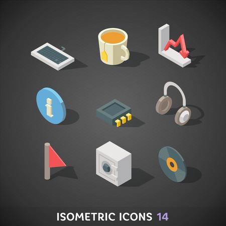 Flat Isometric Icons Set 14 Vector