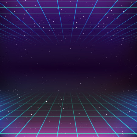 text space: 80s Retro Sci-Fi Background Illustration