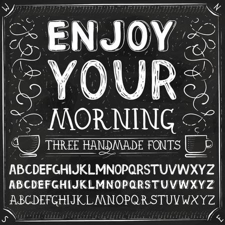 Vector Three Hand Drawn Fonts. Chalkboard Alphabet Lettering