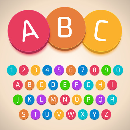 3D Colorful Alphabet. Vector Font