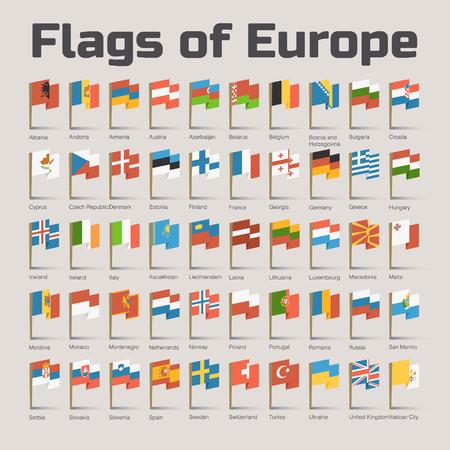 bandera uk: Banderas de Europa. Ilustración del vector del plano con banderas de países europeos en estilo de dibujos animados Vectores