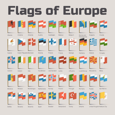 Flags of Europe. Vector Flat Illustration with European countries flags in cartoon style