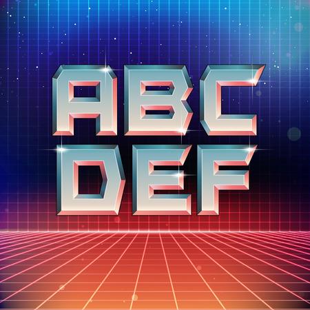 futuristic: 80s Retro Futuristic Font from A to F Illustration