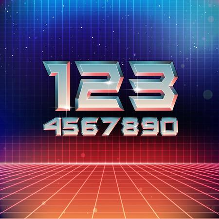 80s Retro Futuristic Numbers