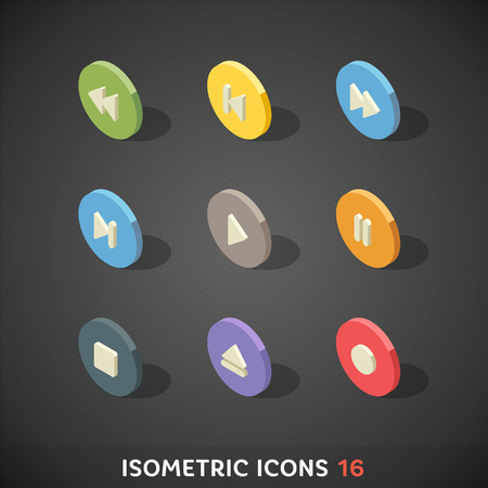 Flat Isometric Icons Set 16 Vector
