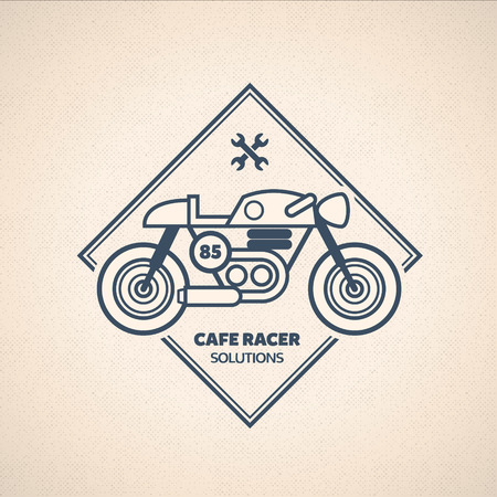 motorbikes: Vintage Motorbike Label. Vector Cafe Racer Emblem
