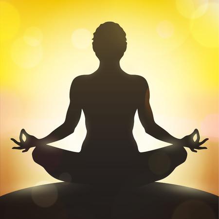manos y pies: Ilustración de la yoga, mujer vector