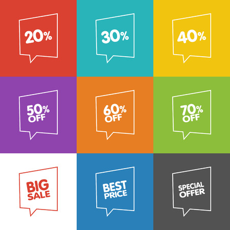 green coupon: Line Discount Labels. Vector Sale Speech Bubbles