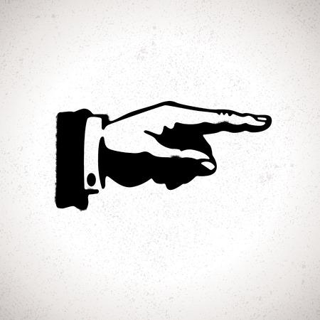 포도 수확: 손가락을 가리키는 검은 손의 실루엣. 벡터 방향 기호 일러스트