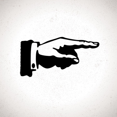 Black hand silhouette with pointing finger. Vector direction sign Vector