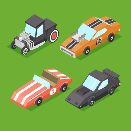 rata caricatura: Vector de dibujos animados isométricos Super Cars