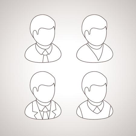 Line User Icons vector avatars Vector
