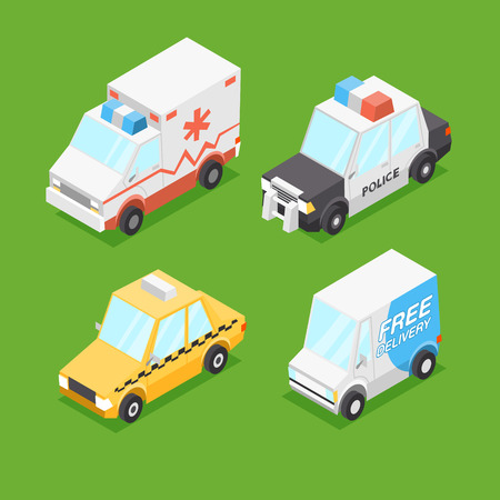 Vector Cartoon Isometric Cars Illustration