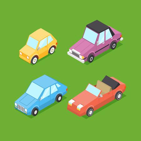 Vector Cartoon Isometric Cars Ilustracja
