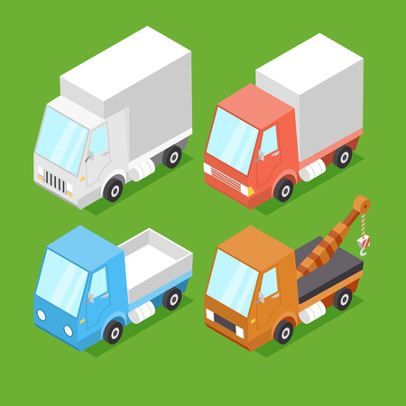 low perspective: Vector Cartoon Isometric Cars Illustration