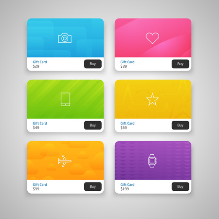 Vector Colorful Gift Cards with prices Vector
