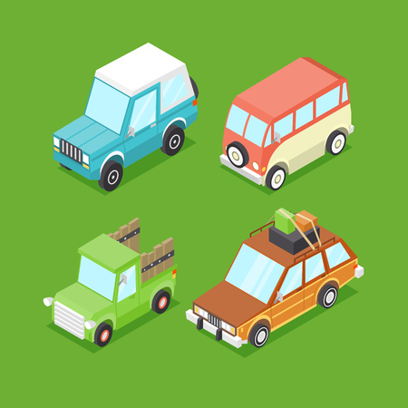 Vector Cartoon Isometric Cars Vector