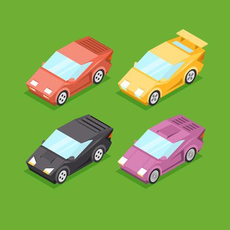 Vector Cartoon Isometric Super Cars Illustration