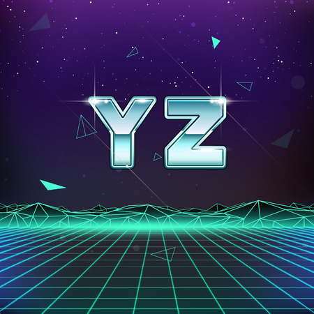 80s Retro SciFi Font from Y to Z Vettoriali