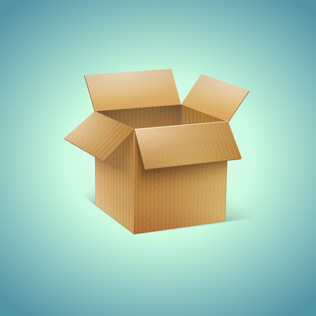 boxboard: Vector Realistic Cardboard Box Icon Illustration