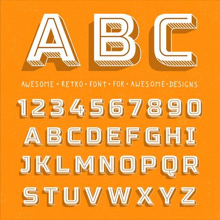 Vector Retro 3D Font with shadow. Vintage Alphabet on grunge background Illustration