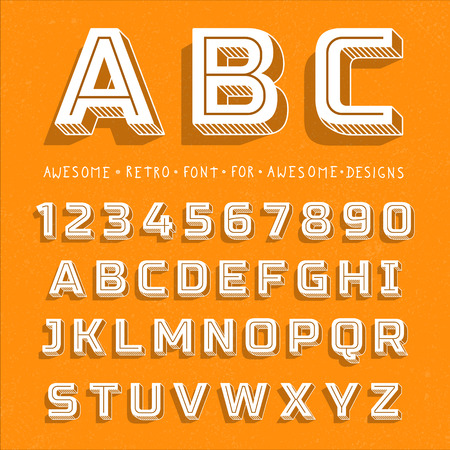 Vector Retro 3D Font with shadow. Vintage Alphabet on grunge background Vettoriali