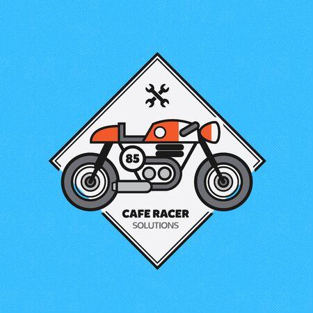 old motorcycle: Vintage Motorbike Label. Vector Cafe Racer Emblem