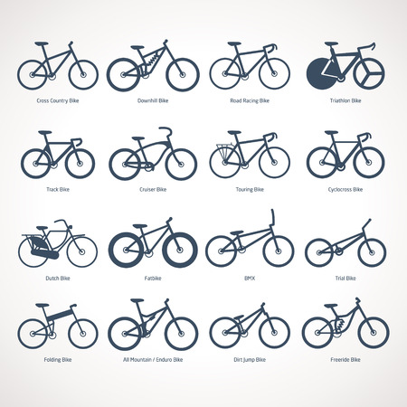 dirt bike: Bicycle Types vector illustration