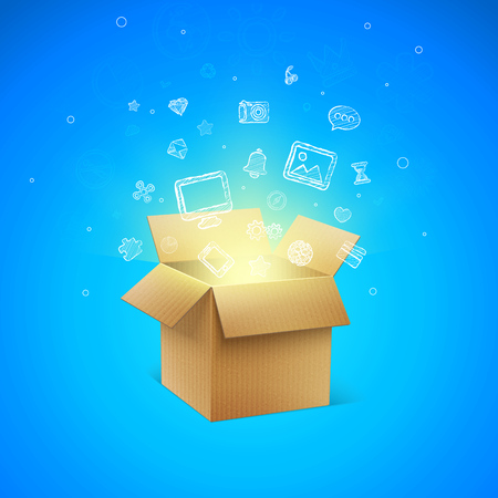 pasteboard: Cardboard Box with Icons vector illustration Illustration