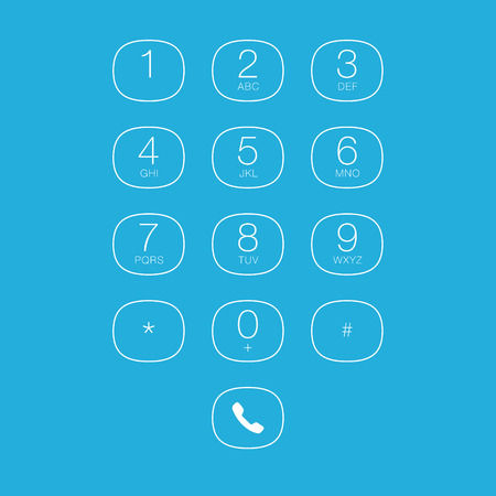 Phone Outline Keypad for Touchscreens. Vector User Interface Illustration