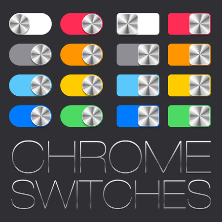 switcher: Vector User Interface Set including chrome switches in two shape variations Illustration