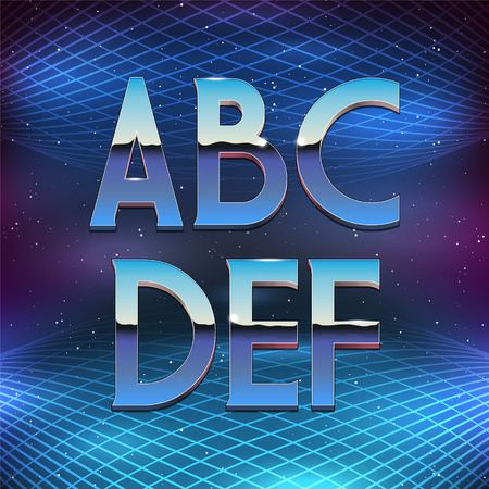 chrome alphabet: Thin Chrome Alphabet in 80s Retro Futurism style. Vector font from A to F Illustration