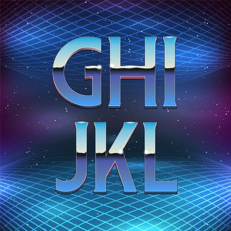 cromo: Cromo Alfabeto en estilo años 80 retro futurismo Delgado. Vector de la fuente de G a L Vectores