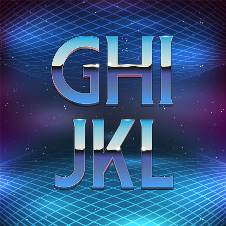 chrome metal: Thin Chrome Alphabet in 80s Retro Futurism style. Vector font from G to L Illustration