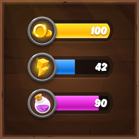 progress: Game Resources Icons with Progress Bars on wooden background. Vector GUI elements for mobile games