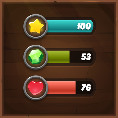 gui: Game Resources Icons with Progress Bars on wooden background. Vector GUI elements for mobile games