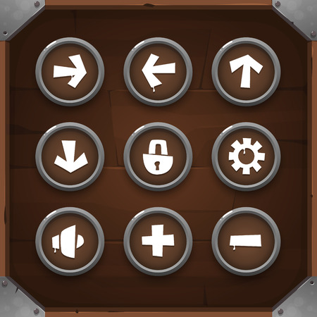 interface design: Game Icons on wooden background Set 1. Vector GUI elements for mobile games