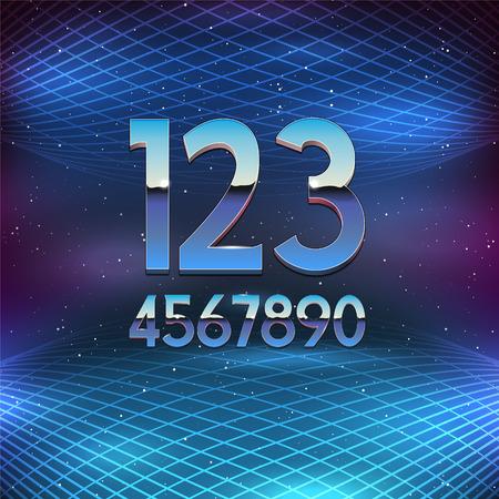 futurism: Thin Chrome Alphabet in 80s Retro Futurism style. Vector Numbers