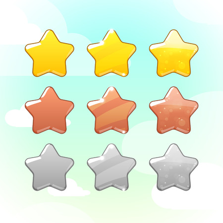 Set of Golden Silver and Bronze Stars. Vector GUI elements for mobile games