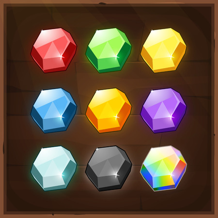 Set of Colorful Gems. Vector GUI elements for mobile games Çizim