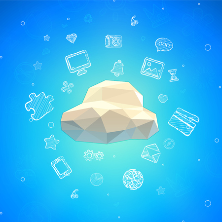 Vector Cloud Lowpoly Illustration with different icons Illustration