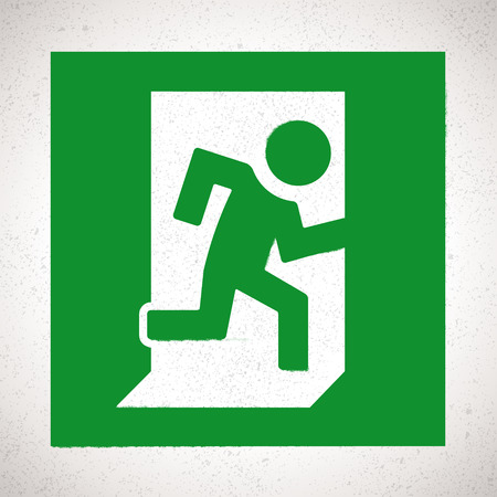 emergency exit: Green Emergency Exit Sign with running human figure. Vector direction sign