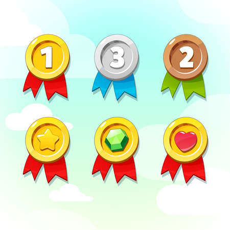 Set of Golden Silver and Bronze Medals. Vector GUI elements for mobile games