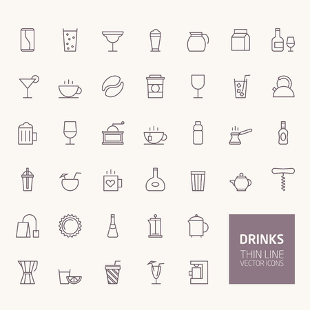 Drinks Outline Icons for web and mobile apps Illustration