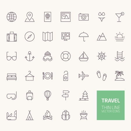 Travel Outline Icons for web and mobile apps