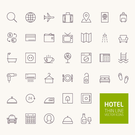 reception hotel: Hotel Booking Outline Icons for web and mobile apps Illustration
