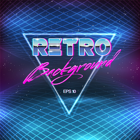 80s Retro Sci-Fi Background Illusztráció